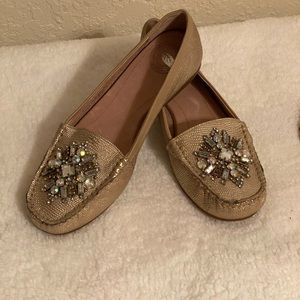 Nurture flats loafers gold leather with crystals